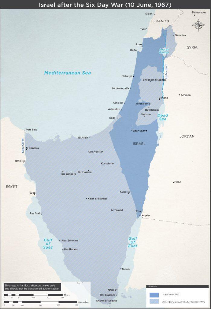 Israël après la guerre des Six-jours de juin 1967. Le Sinaï, vaste territoire au sud-ouest d'Israël, a été rendu à l'Egypte en 1982. Voilà qui ne ressemble pas à une politique de conquête effrénée (source: mfa.gov.il).